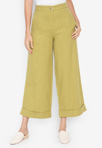 the___edit green George Linen Pants 4E696AA6A9697AGS_1