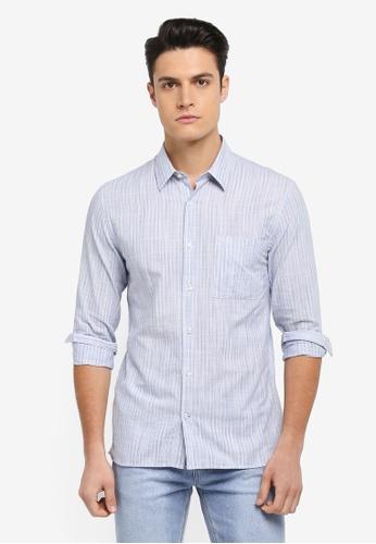 MANGO Man 藍色 長袖條紋襯衫 FAB93AA04D9816GS_1