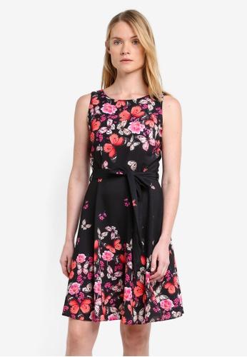 Wallis black Black Butterfly Print Fit And Flare Dress WA800AA0RQJIMY_1