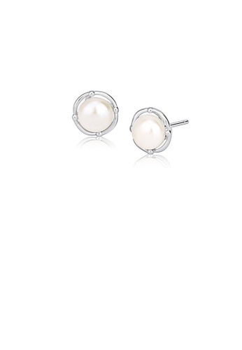 Glamorousky white 925 Sterling Silver Simple and Elegant Geometric Round White Freshwater Pearl Stud Earrings 844E5AC5089346GS_1