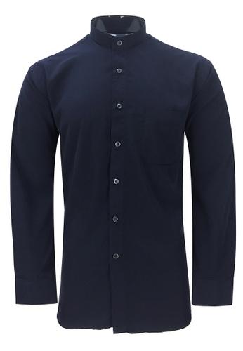 Pacolino blue Pacolino - Mandarin Collar Striped Formal Casual Long Sleeve Men Shirt 56D38AAF147198GS_1