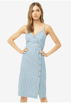 69d3e7e1fa5a FOREVER 21 blue Striped Button Front Dress D97CDAAC87637DGS_1