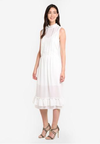 ZALORA white High Neck Ruffle Front Midi Dress A7B85AA772BC51GS_1