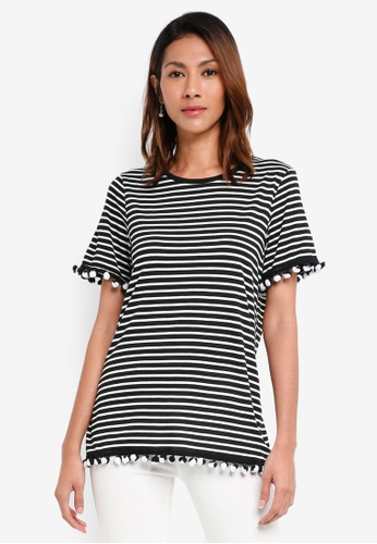 Dorothy Perkins black Black Striped Pom Pom Trim T-Shirt CEC00AA802D3DCGS_1