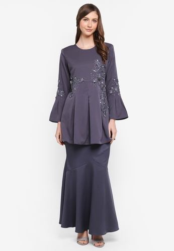 peace collections grey Box Pleat Peplum Kurung E356AAAD61FABAGS_1