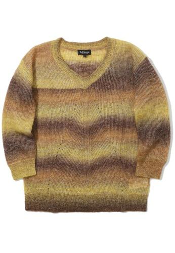 tout à coup yellow Gradient stripe knit sweater 40EB6AABCFDB9FGS_1