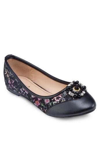花色拼接閃飾平底鞋, 女鞋zalora開箱, 芭蕾平底鞋