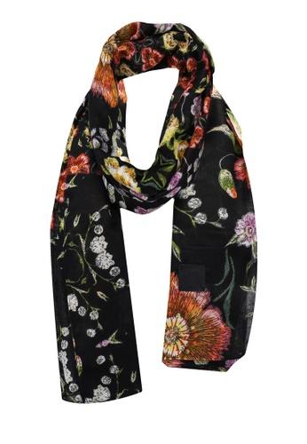 Desigual black Liberty Flowers Rectangular Foulard Scarf BBE82AC8D741CAGS_1