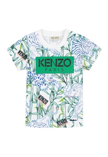 KENZO KIDS black and white and green and blue and multi KENZO BABY BOYS T-SHIRT 52A6DKA4128457GS_1