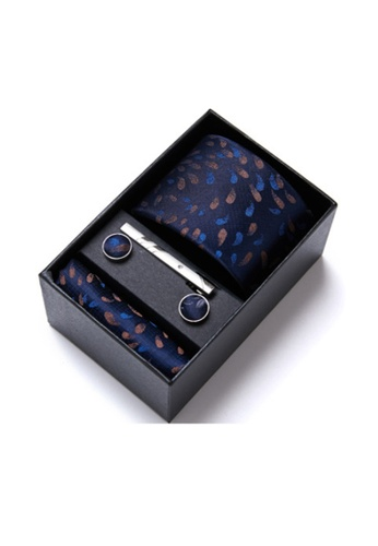 Kings Collection blue Blue Tie, Pocket Square, Cufflinks, Tie Clip 4 Pieces Gift Set (KCBT2135) 56FD2AC8F02089GS_1