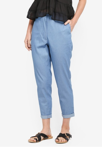 ZALORA blue Rolled Up Cuff Pants E7369AA247F337GS_1