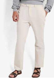 ZALORA beige Nt-Cotton Linen Trousers A4283AA2B74CF2GS_1