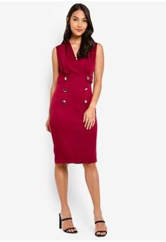 1d30f355ed8 ZALORA red Sleeveless Overlap Dress With Button Detail 2D47FAA6C718ECGS_1