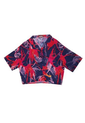 Nade red Nade FT048 Kemeja wanita oversize motif daun api merah biru 9FA86AA35027DBGS_1