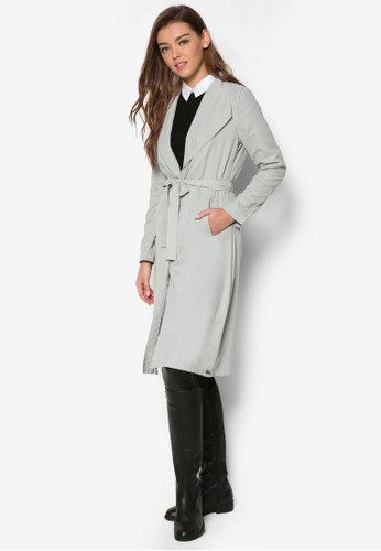 垂墜翻領腰帶長版外套zalora 手錶, 服飾, 外套