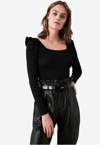 Trendyol black Ruffled Shoulder Square Neck Sweater 92087AA4E82D57GS_1