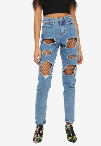 TOPSHOP blue Moto Mid Blue Diamante Mesh Mom Jeans FF179AAE6F18F7GS_1