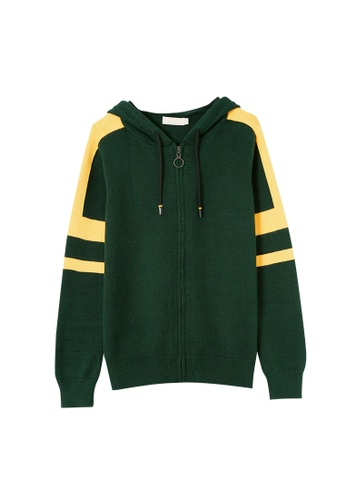 Its Me yellow and green Fashion Contrast Color Hooded Knitted Jacket 65754AAA6577F7GS_1