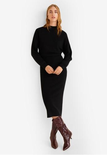 MANGO black Knit Long Dress 2267FAA7C0B8DFGS_1
