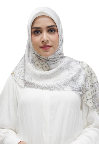 Buttonscarves white Buttonscarves Maharani Satin Square White D7885AACF96F51GS_1