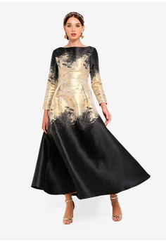 6a87f8c34c04 Zalia black and gold Placement Jacquard Fit And Flare Dress  0D2FCAA77BA164GS 1