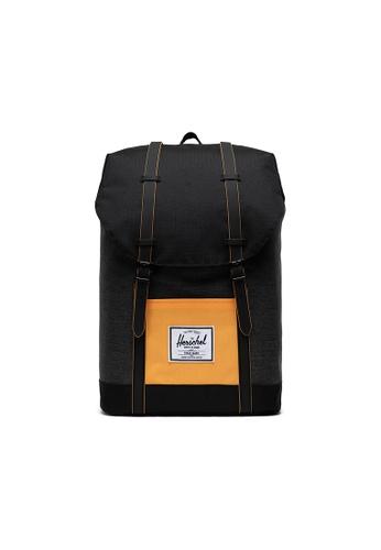 Herschel black Herschel Retreat Backpacks - Black Crosshatch/Black/Blazing Orange 327B1ACA5DAF94GS_1