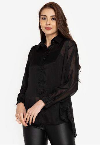 ZALORA BASICS black Sheer Longline Shirt B4CADAA53CCC34GS_1