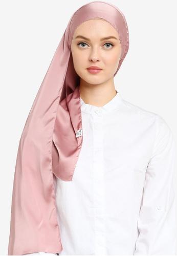 UMMA pink Nour Satin Slik Scarf in Dusty Pink CE2C7AAE833BCBGS_1