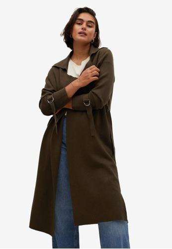 Violeta by MANGO green Plus Size Lapel Long Cardigan 3F002AA3AEF862GS_1