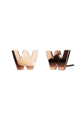 Bullion Gold gold BULLION GOLD Dainty Alphabet Letter Earring Rose Gold Layered Steel Jewellery - W BA7F6ACB61DEC3GS_1