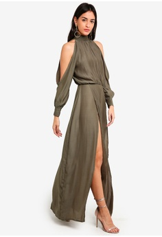 4d23d0f97a MISSGUIDED green Split Front Satin Maxi Dress 1AF9BAAF029BEAGS 1