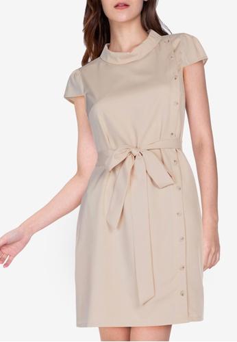 ZALORA WORK beige Side Buttons Dress A3D4EAA5FCB4E8GS_1