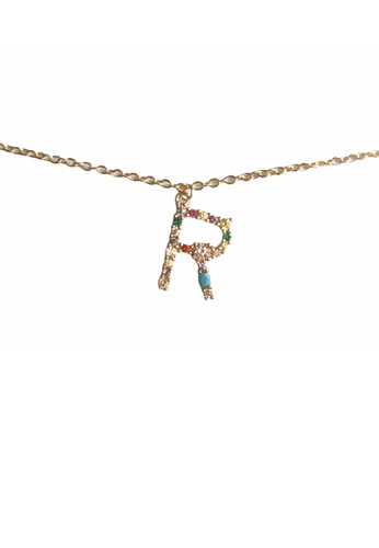 CINDERTOELLA gold Cindertoella Initial Alphabet Letter R Zircon Stone Pendant 18K Gold Plated Necklace 94F00AC99A2FDCGS_1