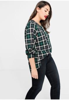 f3ac46f45ea Violeta by MANGO Plus Size Checkered Cotton Shirt RM 208.90. Sizes S M L XL  XXL