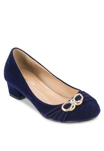 扣環抓皺天鵝絨低跟鞋,esprit女裝 女鞋, 厚底高跟鞋