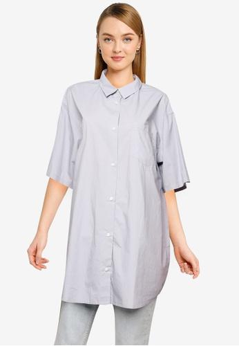 LOWRYS FARM blue Longline Shirt CF223AAD68A269GS_1