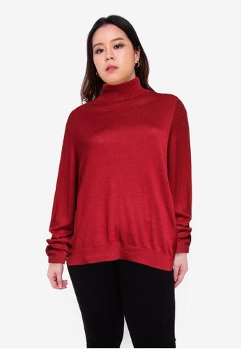 Vero Moda red Plus Size Rollneck Button Pullover 67A9FAAB0F339DGS_1