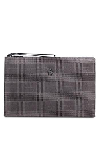 Swiss Polo grey Check Clutch Bag 2DFC4ACABBE75CGS_1