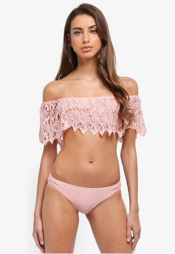 South Beach pink Coral Lace Bardot Frill Top And Brief Bikini 3706DUSBDB3E58GS_1