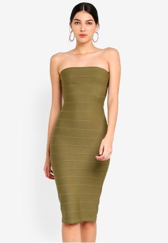 MISSGUIDED 綠色 Bandeau Bandage Midi Dress B96FEAA6F84229GS_1