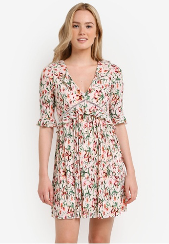 TOPSHOP multi Floral Crinkle Mini Dress TO412AA0RI9ZMY_1