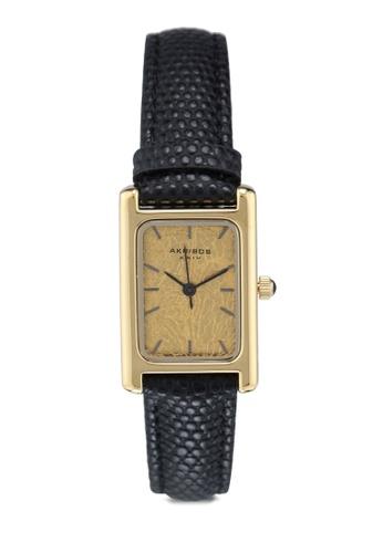 Akribos XXIV black Gold Black Leather Watch 8B149ACB25C3AAGS_1