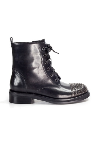 Shu Talk black AMAZTEP Rocky Punky Mid-Calf leather boots 59084SHC3BAA29GS_1