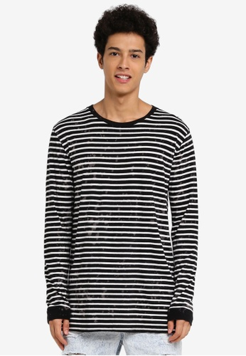 Factorie black and white Longsleeve Shaded Stripe Tee 0C9C9AA001E6D4GS_1