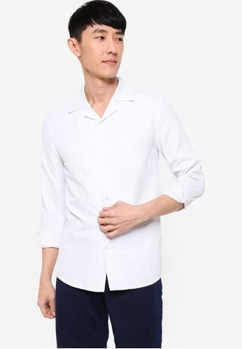 ZALORA BASICS white Slim Fit Revere Collar Smart Shirt C032FAAF5D456CGS_1