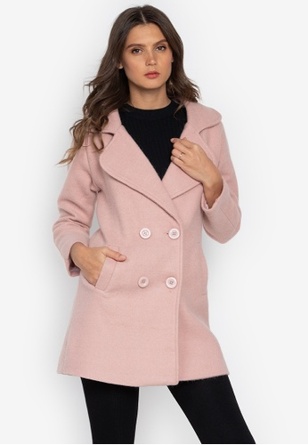 Well Suited pink Double Breasted Wool Trench B36F1AA2B574A1GS_1