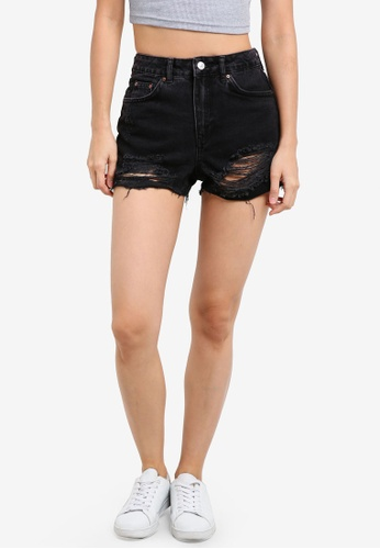 TOPSHOP black MOTO Ripped Mom Shorts TO412AA0SHHMMY_1