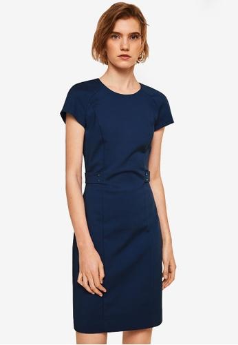 Mango navy Metallic Appliqué Cotton Dress 54A12AA870B00CGS_1