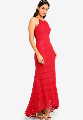 ZALORA red Bridesmaid Mermaid Lace Dress C2D81AA65F7805GS_1