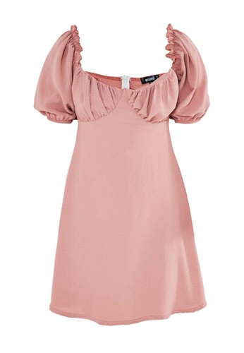 MISSGUIDED pink Milkmaid Skater Dress 3E13EAAD6649A4GS_1